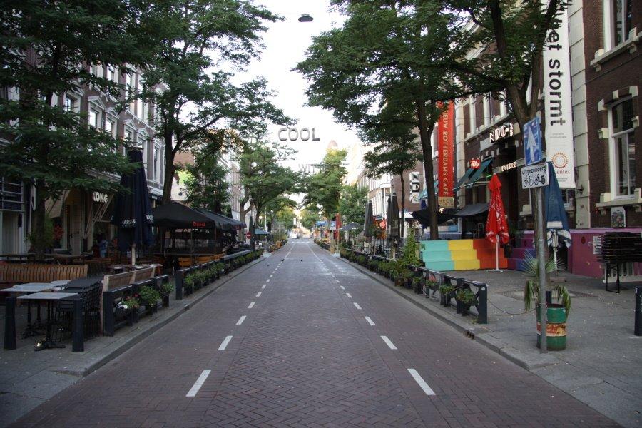 Overzicht van een deel van de Witte de Withstraat in Rotterdam