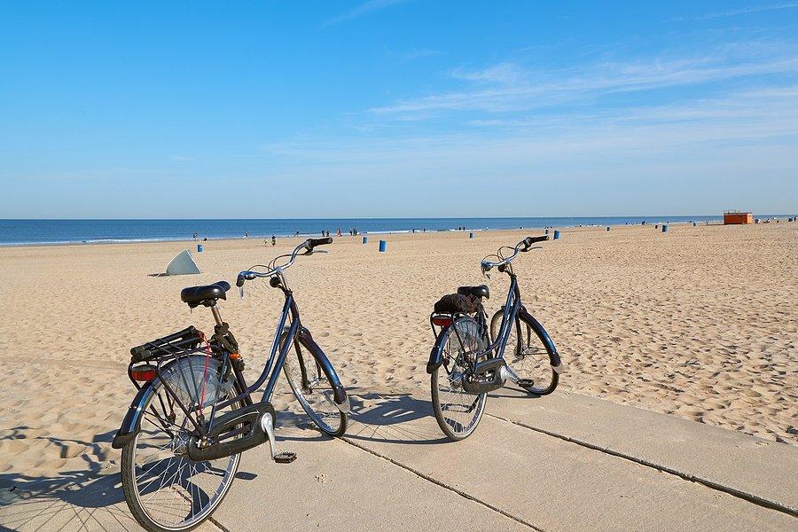 2 fietsen bij het mooie strand in Hoek van Holland