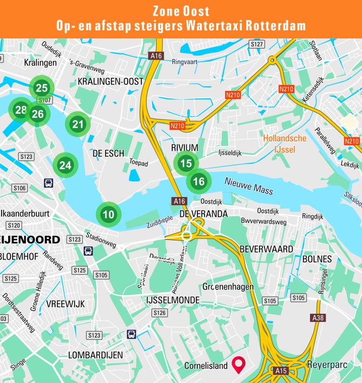 Kaart van de steigerlocaties in zone oost van de watertaxi Rotterdam