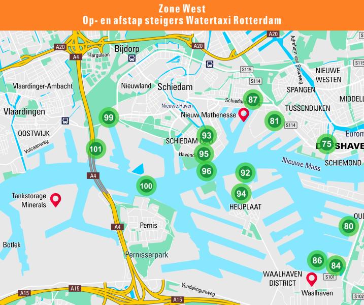 Kaart van de steigerlocaties in zone west van de watertaxi Rotterdam